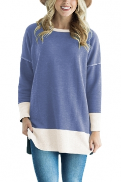 Womens Crew Neck Long Sleeve Color Block Loose Sweatshirt Light Blue