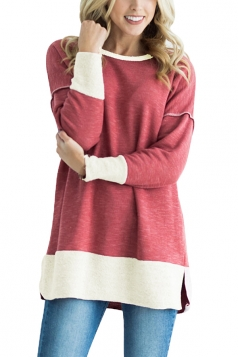 Womens Crew Neck Long Sleeve Color Block Loose Slit Sweatshirt Ruby