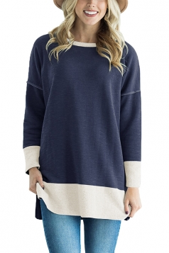 Womens Crew Neck Long Sleeve Color Block Loose Sweatshirt Navy Blue