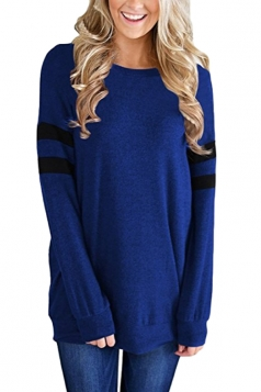 Womens Crew Neck Long Stripe Sleeve Loose Sweatshirt Sapphire Blue