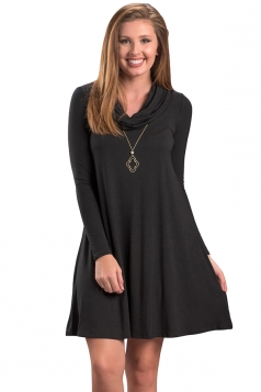 Womens Trendy Cowl Neck Long Sleeve Ruffle Plain Dress Dark Gray