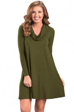 Womens Trendy Cowl Neck Long Sleeve Ruffle Plain Dress Green