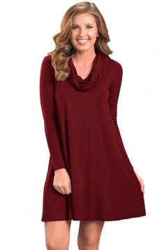Womens Trendy Cowl Neck Long Sleeve Ruffle Plain Dress Ruby