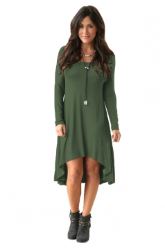 Womens Crew Neck Long Sleeve Asymmetric Hem Plain Dress Army Green