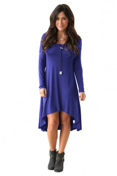 Womens Stylish Crew Neck Long Sleeve Asymmetric Hem Plain Dress Blue