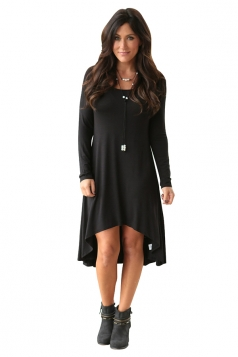 Womens Stylish Crew Neck Long Sleeve Asymmetric Hem Plain Dress Black
