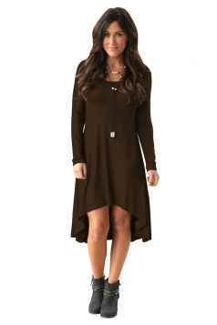 Womens Stylish Crew Neck Long Sleeve Asymmetric Hem Plain Dress Coffee