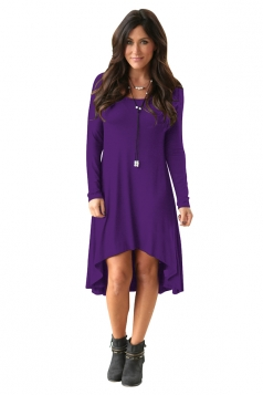 Womens Stylish Crew Neck Long Sleeve Asymmetric Hem Plain Dress Purple