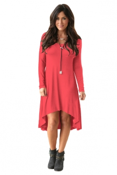 Womens Crew Neck Long Sleeve Asymmetric Hem Plain Dress Watermelon Red