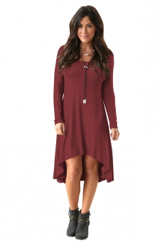 Womens Stylish Crew Neck Long Sleeve Asymmetric Hem Plain Dress Ruby