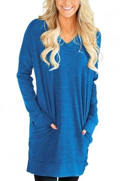 Womens Casual Pocket V-Neck Side Slit Long Sleeve Plain Dress Blue