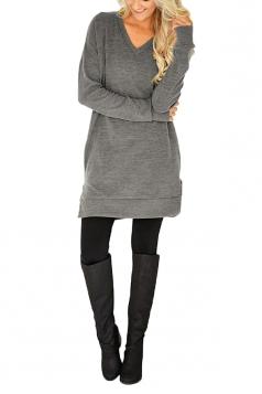 Womens Casual Pocket V-Neck Side Slit Long Sleeve Plain Dress Gray