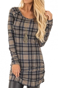 Womens Close-Fitting Bandage Ruffle Crew Neck Plaid Shirt Dress Gray