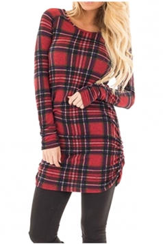 Womens Close-Fitting Bandage Ruffle Crew Neck Plaid Shirt Dress Red