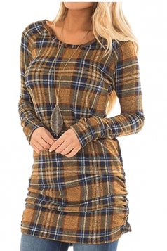 Womens Close-Fitting Bandage Ruffle Crew Neck Plaid Shirt Dress Yellow