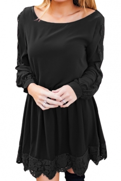 Womens Casual Crew Neck Long Sleeve Lace Ruffle Plain Dress Black