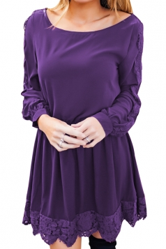 Womens Casual Crew Neck Long Sleeve Lace Ruffle Plain Dress Purple
