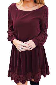 Womens Casual Crew Neck Long Sleeve Lace Ruffle Plain Dress Ruby