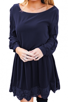 Womens Casual Crew Neck Long Sleeve Lace Ruffle Plain Dress Navy Blue
