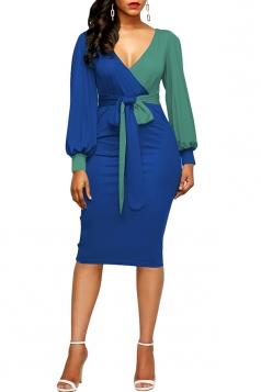 Womens V-Neck Waist Tie Puff Sleeve Color Block Bodycon Dress Blue