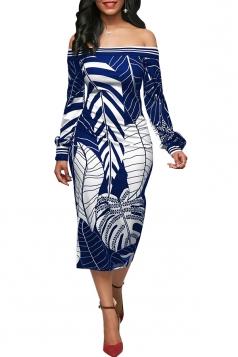 Womens Sexy Off Shoulder Puff Sleeve Leaf Printed Bodycon Dress Blue