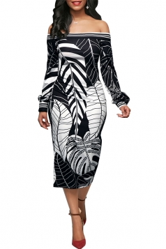 Womens Sexy Off Shoulder Puff Sleeve Leaf Printed Bodycon Dress Black