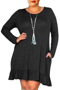 Womens Oversized Crew Neck Long Sleeve Ruffle Plus Size Dress Black