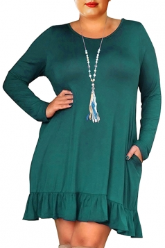 Womens Oversized Crew Neck Long Sleeve Ruffle Plus Size Dress Green