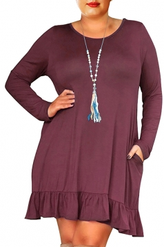 Womens Oversized Crew Neck Long Sleeve Ruffle Plus Size Dress Purple