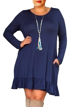 Womens Crew Neck Long Sleeve Ruffle Plus Size Dress Sapphire Blue