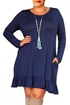 Womens Crew Neck Long Sleeve Ruffle Plus Size Dress Sapphire Blue