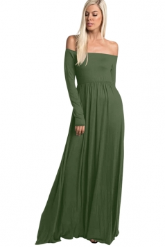 Womens Elegant Off Shoulder Long Sleeve Plain Maxi Dress Army Green