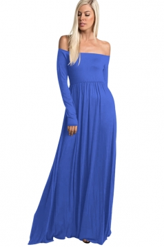Womens Elegant Off Shoulder Ruffle Long Sleeve Plain Maxi Dress Blue
