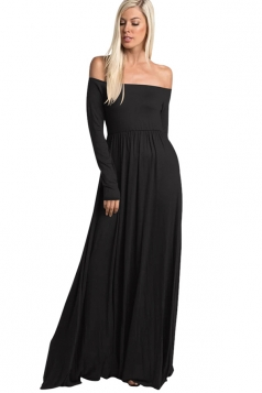 Womens Elegant Off Shoulder Ruffle Long Sleeve Plain Maxi Dress Black