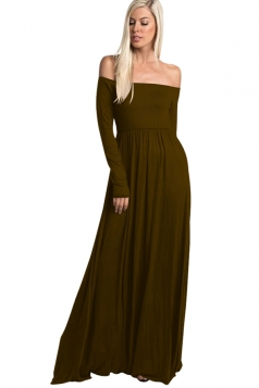 Womens Elegant Off Shoulder Ruffle Long Sleeve Plain Maxi Dress Brown