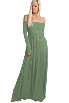Womens Off Shoulder Ruffle Long Sleeve Plain Maxi Dress Oliver Green