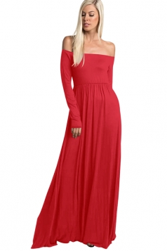 Womens Elegant Off Shoulder Ruffle Long Sleeve Plain Maxi Dress Red