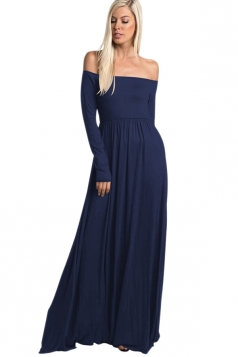 Womens Off Shoulder Ruffle Long Sleeve Plain Maxi Dress Sapphire Blue