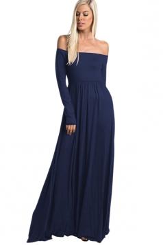 Womens Off Shoulder Ruffle Long Sleeve Plain Maxi Dress Sapphire Blue