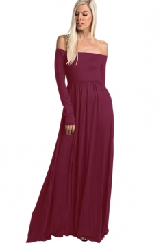 Womens Elegant Off Shoulder Ruffle Long Sleeve Plain Maxi Dress Ruby