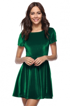 Womens Elegant Crew Neck Half Sleeve Pleuche Skater Dress Dark Green