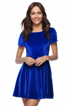 Womens Casual Crew Neck Half Sleeve Pleuche Skater Dress Sapphire Blue