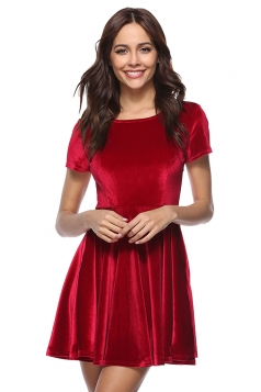 Womens Pleated Crew Neck Half Sleeve Pleuche Plain Skater Dress Ruby