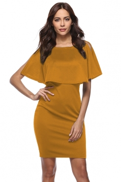Womens Elegant Slit Short Sleeve Pencil Ruffle Bodycon Dress Yellow