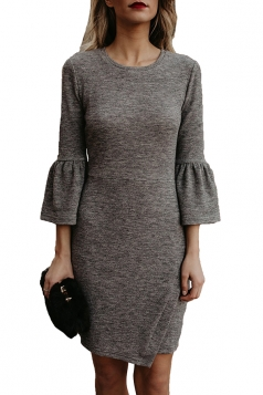 Womens Elegant Crew Neck Bell Sleeve Irregular Hem Plain Dress Gray