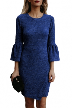 Womens Elegant Crew Neck Bell Sleeve Irregular Hem Dress Navy Blue