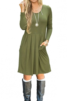 Womens Casual Crew Neck Loose Pleated Plain Skater Dress Army Green