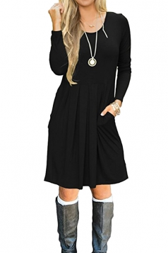 Womens Crew Neck Long Sleeve Loose Pleated Plain Skater Dress Black