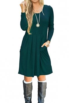 Womens Casual Long Sleeve Loose Pleated Plain Skater Dress Dark Green