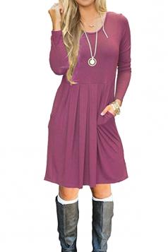 Womens Crew Neck Long Sleeve Loose Pleated Skater Dress Light Purple